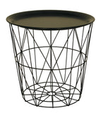 Small Wire Side Table with Black Metal Tray Lid