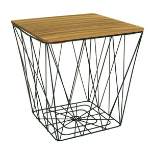 Square Metal Wire Table With Wood Effect Removeable Lid