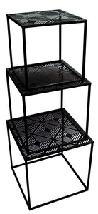 Square Black Metal Side Table with Geometric Pattern Top - VARIOUS SIZES from