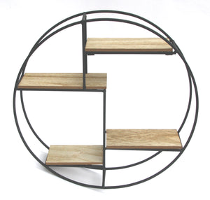 Round Black Metal and Wood Effect Wall Hanging Sectional Shelf Unit