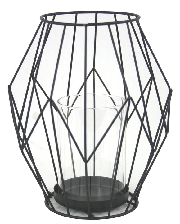 Black Wire Geometric Candle Holder