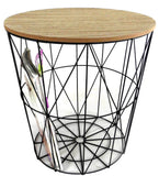 Round Metal Wire Table with Removeable Wooden Lid  in TWO SIZES from