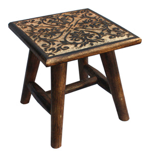 Rustic Wooden Stool or Plant Stand with Dark Stained Hand Carvings - Assorted Designs
