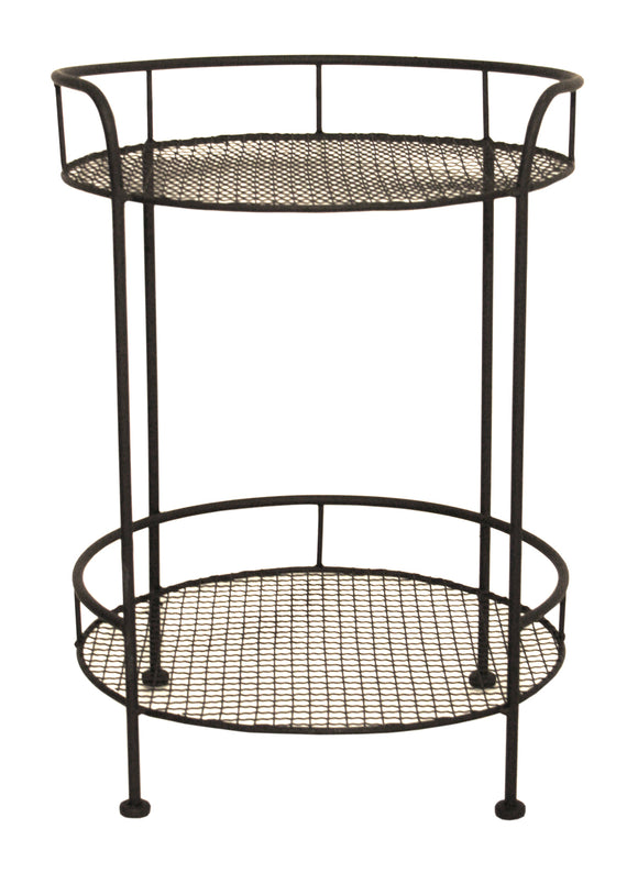 Wire Metal Mesh Round Side Table with 2 Tiers - BLACK or DISTRESSED CREAM