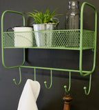 Metal Mesh Wall Basket with Five Hooks - VARIOUS COLOURS