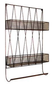 Metal Diamond Design Two Tier Wall Shelf with Towel Rail - Black and Copper Wash Finish