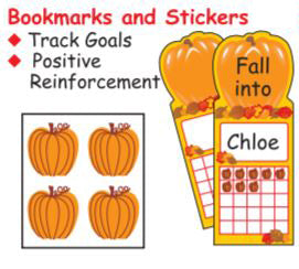 Fall Bookmarks and Stickers are available.