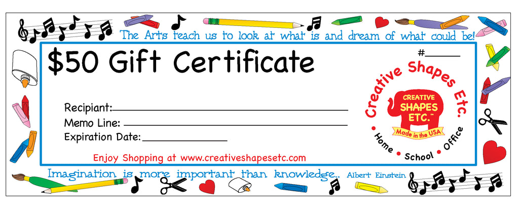 Gift Certificate - $50.00 - Creative Shapes Etc.