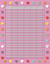 Vertical Incentive Chart - Pink Heart - Creative Shapes Etc.