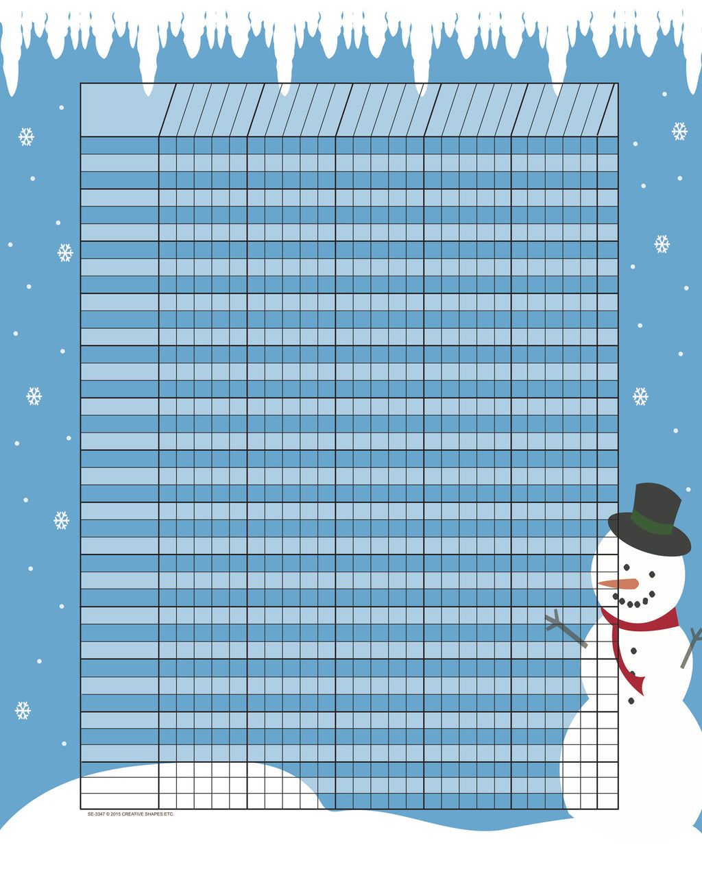 Vertical Incentive Chart - Snowman - Creative Shapes Etc.
