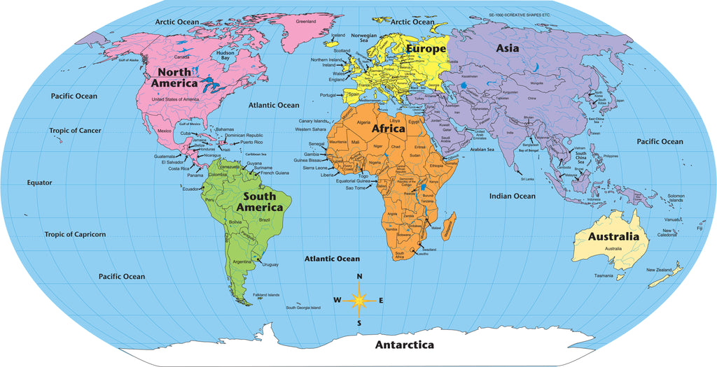 Map Of The World Labeled Labeled World  Practice Maps | Creative Shapes Etc.