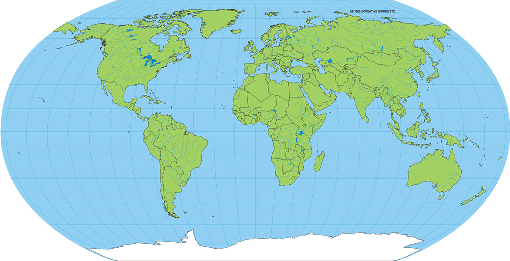 """8"""" x 16"""" Unlabeled World Practice Map, 30 Sheets in a Pack for Image Of Unlabeled World Map on map of world uncolored, map of world unmarked, map of world not labeled,"""