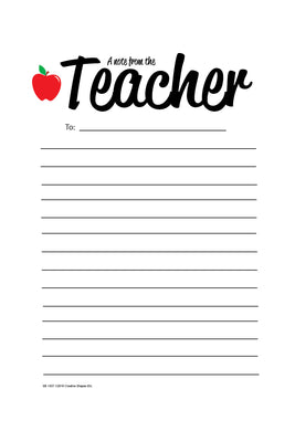 "5"" x 7"" Note From Teacher - Notes to Parents"