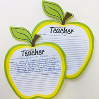Golden Apple Blank Pad - Notes to Parents - Creative Shapes Etc.