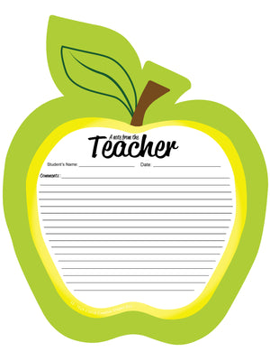 "8"" x 10"" Golden Apple Blank Pad - Notes to Parents"