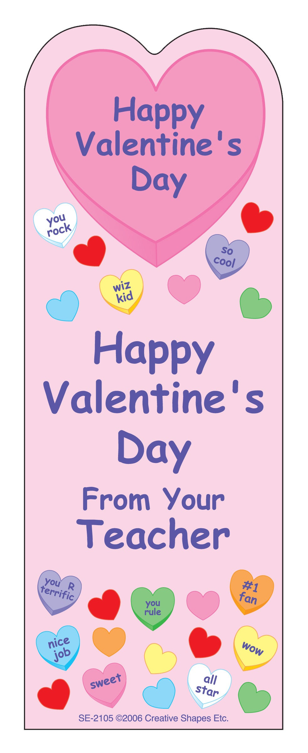 """From Your Teacher"" Bookmarks - Valentine - Creative Shapes Etc."