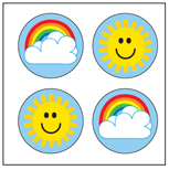 Incentive Stickers - Rainbow Sun (Pack of 1728) - Creative Shapes Etc.