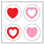 Incentive Stickers - Tri-Color Hearts (Pack of 1728)