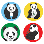 Incentive Stickers - Panda (Pack of 1728) - Creative Shapes Etc.