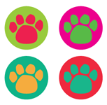 Incentive Stickers - Colorful Paw Prints (Pack of 1728) - Creative Shapes Etc.