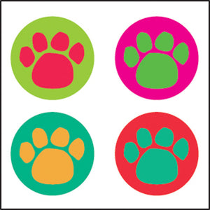 Incentive Stickers - Colorful Paw Prints - Creative Shapes Etc.