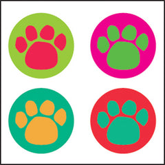 Incentive Stickers - Colorful Paw Prints