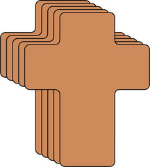 Small Single Color Creative Foam Cut-Outs - Brown Cross (SE-7321)