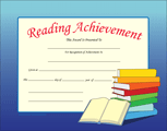 Recognition Certificate - Reading Achievement - Creative Shapes Etc.