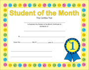 Recognition Certificate - Student of the Month - Creative Shapes Etc.
