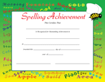 Recognition Certificate - Spelling Achievement - Creative Shapes Etc.