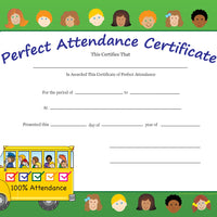 Recognition Certificate - Perfect Attendance - Creative Shapes Etc.