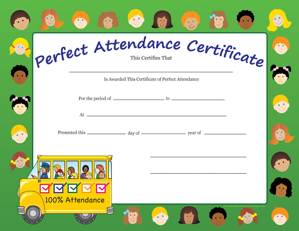 Recognition Certificate - Perfect Attendance