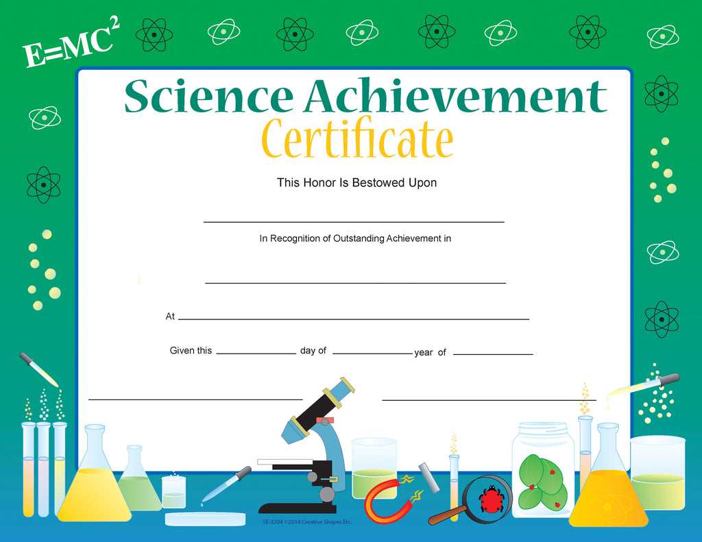 Recognition Certificate - Science Achievement - Creative Shapes Etc.