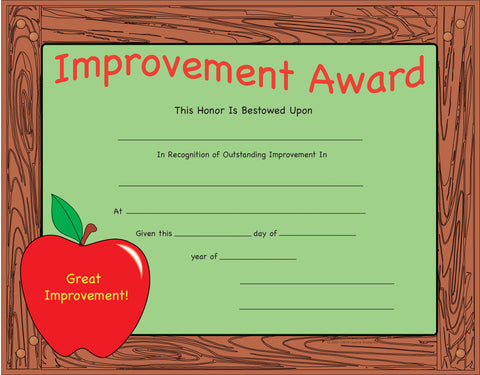 Picture of Recognition Certificate - Improvement Award