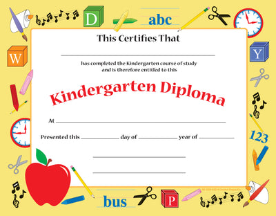 Recognition Certificate - Kindergarten Diploma - Creative Shapes Etc.