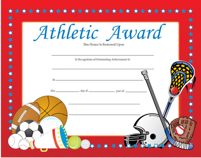 Recognition Certificate - Athletic Award - Creative Shapes Etc.