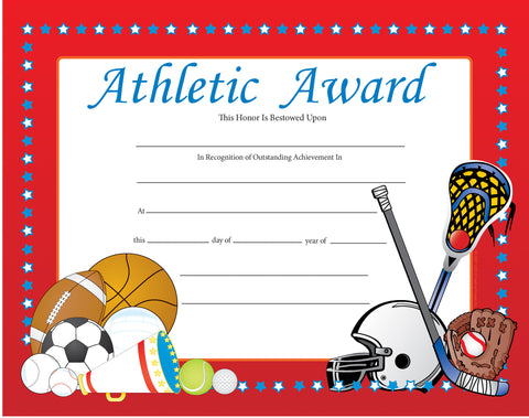 Picture of Recognition Certificate - Athletic Award