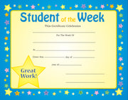 Recognition Certificate - Student of the Week - Creative Shapes Etc.