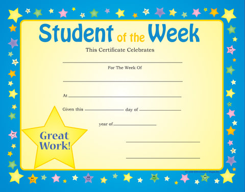 student of the week certificate template free - creative shapes etc recognition certificate student