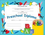 Recognition Certificate - Preschool Diploma - Creative Shapes Etc.