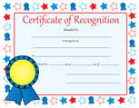 Recognition Certificate - Certificate of Recognition