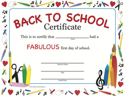 Recognition Certificate - Welcome Back to School - Creative Shapes Etc.
