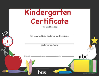 Recognition Certificate - Kindergarten Certificate - Creative Shapes Etc.