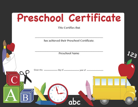 Picture of Recognition Certificate - Preschool Certificate