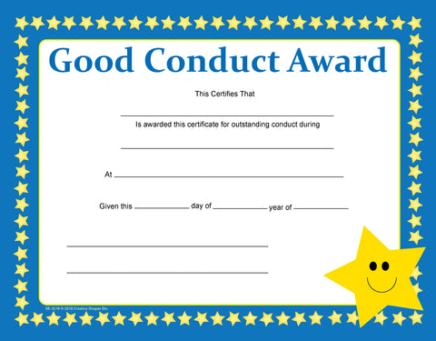 Picture of Recognition Certificate - Good Conduct