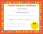 Recognition Certificate - Positive Behavior - Creative Shapes Etc.