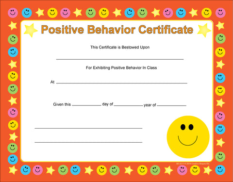 Picture of Recognition Certificate - Positive Behavior