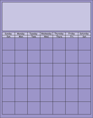Vertical Calendar - Lavender - Creative Shapes Etc.