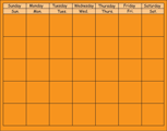 Horizontal Calendar - Orange