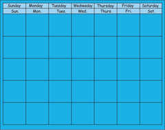 Horizontal Calendar - Blue
